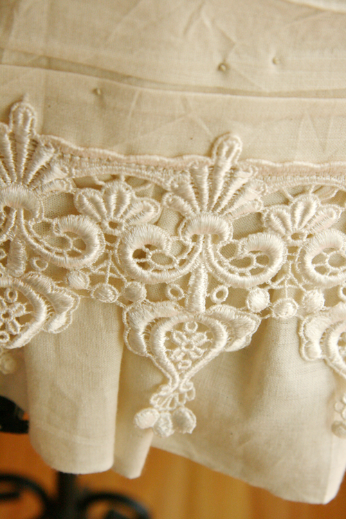 Close up of lace-