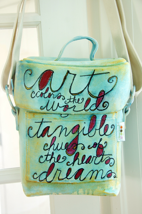 Turq + orange quote lg bag-