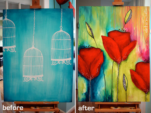 Canvas before & after-