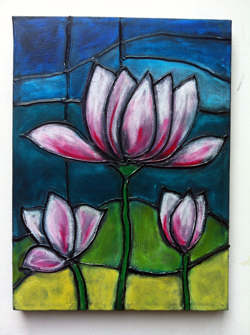 Stained glass on canvas-