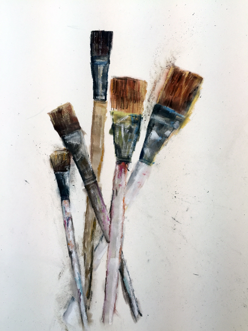 Brushes in glass - pastel wip1-