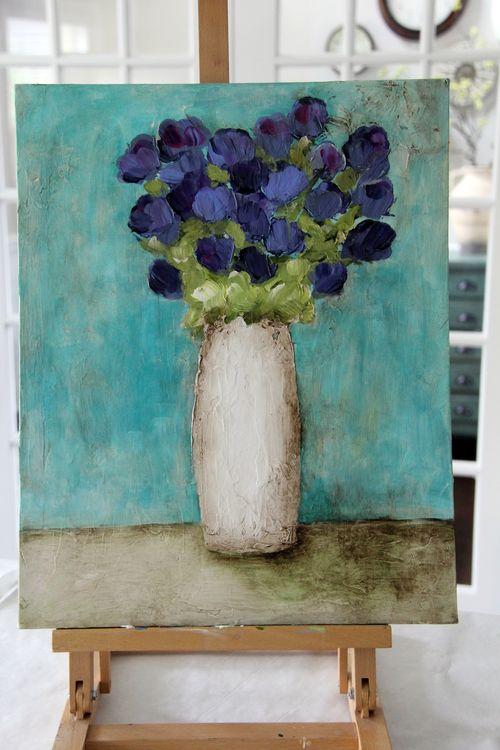 Abstract tall purple in tall vase4