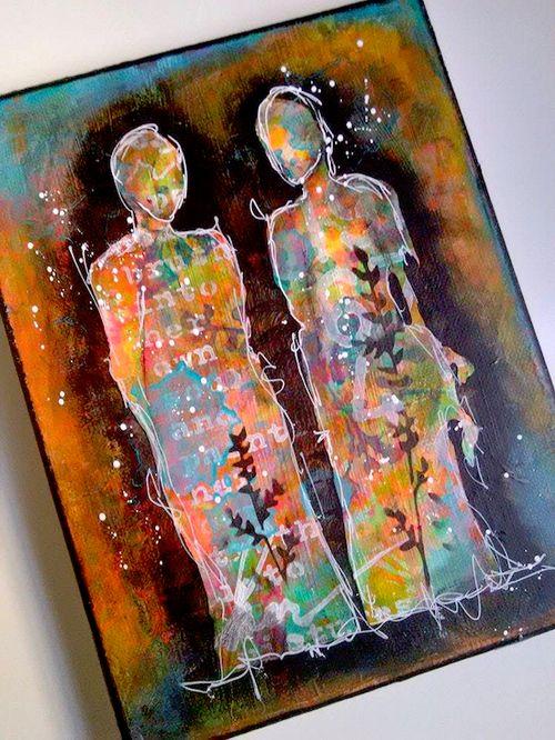 Artist gang nika rouss mixed media canvas
