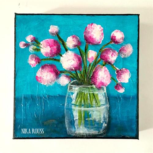 Flowers in the vase mixed media painting nika in wonderland