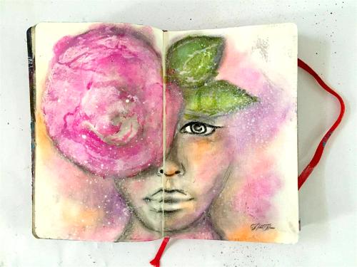 Mixed media girl painting tutorial art journaling nika in wonderland
