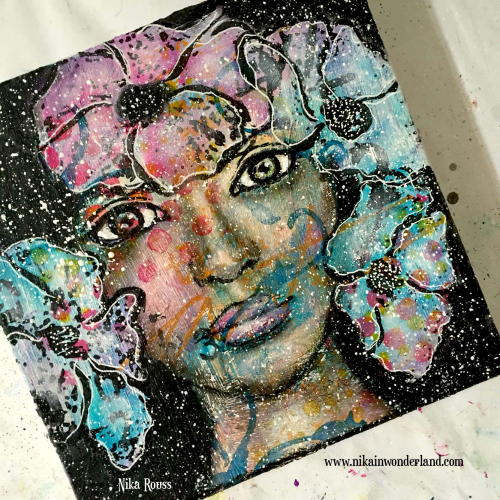 Mixed media girl with flowers tutorial nika rouss
