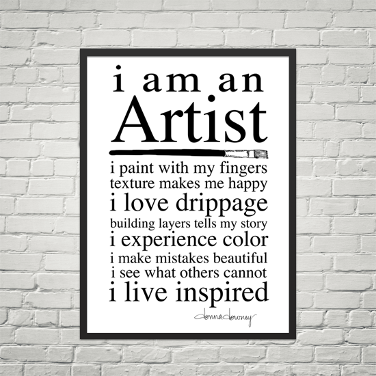 I am an artist poster framed