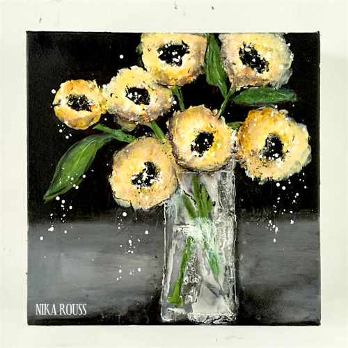 Vase of flowers acrylic painting on canvas